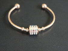 rose gold open cuff with cz stone tumbler pendant bracelet stainless steel