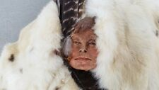 EARTH WALKER Fur+Turkey Feather/Clay Mask Native-Amer Style Mask Eerily Real