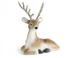 Adorable 26cm Sitting Gold Reindeer with Glitter Antlers Christmas Deer Xmas