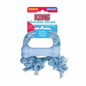 Brand New KONG Puppy Goodie Bone with Rope Natural Teething Rubber Dog Toy