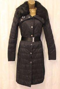 Karen Millen Quilted Padded Puff Faux Fur Collar Parka Popper Black Coat 10 38