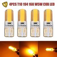 4x T10 194 168 W5W COB LED Car Canbus Silica Width Light Bulb Amber Yellow Lamp