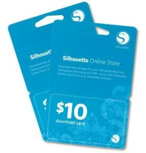 Silhouette $10, $25 & £20 Download Cards