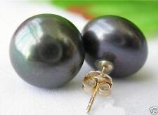 HOT HUGE  AAA 11-12 mm South Sea Black Stud Pearl Earrings 14k GOLD