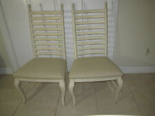Wood  Dining room chair   fabric seat ladder back pair  Shipping not included