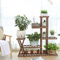 5 Tier Wooden Plant Flower Pot Stand Display Shelf Vintage Indoor Outdoor Garden