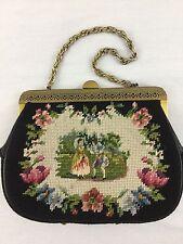 Antique Needlepoint Figural Scene AustrianHandbag Purse With Metal Hardware