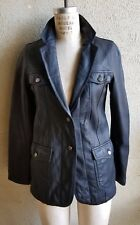 Tailored AG ADRIANO GOLDSCHMIED Black Leather Jacket Silver Toned Buttons SZ  S
