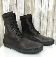 Tod's Lace-Up Combat Boots Brown/Grey Suede Nubuck Mens 6 Womens 8 UNISEX