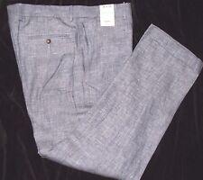 Murano NWT Baird McNutt Alex Slim Fit  Linen Pant 36x30 29x32 Flat Front Blue