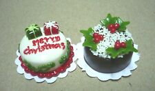 Set of 2 Dollhouse Miniatures Christmas Cakes Food Supply Deco Holiday Season
