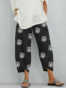 Womens Summer Ladies Cotton Linen Baggy Casual Harem Pants Trousers Plus Size