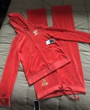 Authentic New Juicy Couture Women JC Crown Velour Hoodie(L)&Pants(M) Ginger Red