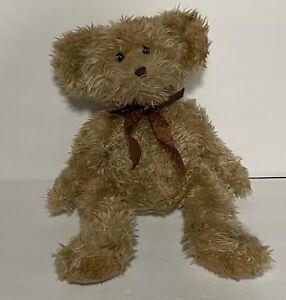 "Russ Berrie Radcliffe Teddy Bear 16"" Stuffed Plush Brown Polka Dot Bow Ribbon"