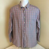 Jeff Rose Mens Multicolor Plaid Shirt Long Sleeve Large Made in Italy Free Ship!