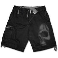 Spiral Direct SHADOW SKULL (GREY) - Vintage Cargo Shorts Death/Metal/Biker/Rock