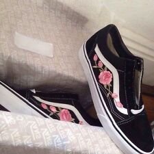 Vans Custom Embroidered Pink Rose Vans, Any Sizes,genuine Products 100%