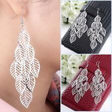 Ear Hook Drop Dangle Girls Ek Silver Fashion Multi-Leaf Long Earings Earrings