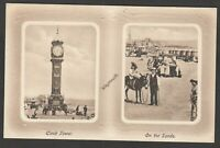 Postcard Weymouth Dorset the Clock Tower and Sands two early views J Welch JWS