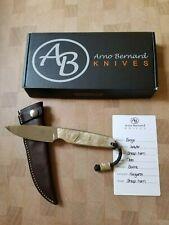 NEW! Arno Bernard Bongo Knife w/ Sheep Horn Handles. N690 Steel. Bovine Sheath.