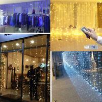 300LED Window Curtain String Fairy Lights Wedding Party Decor Remote-control USB