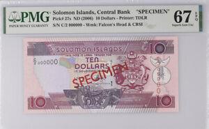 Solomon Islands 10 Dollars nd 2006 P 27 Specimen Superb Gem UNC PMG 67 EPQ