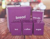 5pc Kitchen Bread Bin Canister Set Tea Coffee Sugar Biscuits Storage Jars Purple