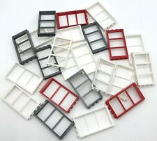 LEGO LARGE LOT OF 1 X 4 X 6 WINDOW FRAMES WITH PANES NO GLASS WHITE RED MORE