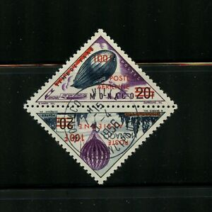 B765  Monaco 1956  balloons Zeppelin  SURCHARGED AIRMAIL  SE-TENANT PAIR   used