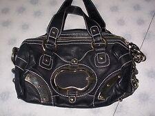 GUESS Black Faux Pebbled Leather Purse Hobo DOCTOR Bag HANDBAG~NO SHOULDER STRAP