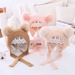 Winter Knitted Warm Baby Hat Cute Double  Pompom Infant Cap Ear Protection Hats