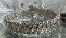 "⭐DESIGNER NEW WIDE STERLING SILVER ""40"" ROWS 2 CARAT CT DIAMOND TENNIS BRACELET"