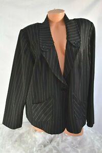 SNAP (22W 2X) Jacket Blazer BLACK Pinstripe Pockets Button Lapel Stretch Fabric