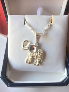 Sterling silver 925 pendant w/chain 20 inches elephant