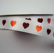 White 15mm Ribbon with Red Foil Hearts (1 Quantity = 5 metres)