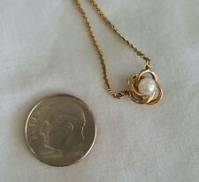 Adorable 14K Yellow Gold Love Knot with Pearl Necklace - Not Scrap 2.9 Grams