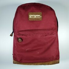 Vtg EastSport Red Merlot Leather Bottom Bookbag Backpack School Bag College