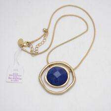 Lia Sophia jewelry matte gold plated genuine stone slide pendant necklace chain
