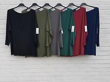 Womens Italian Lagenlook Top Blouse Silver Thread Plus Size 16 18 20 22 24 26