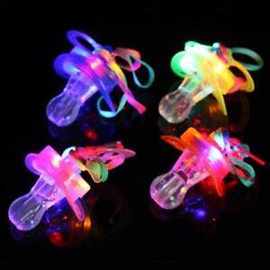 6 pcs LED Flashing Pacifier * Light Up Blinking Whistles w/ Lanyard for RAVE EDC