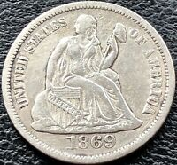 1869 S Seated Liberty Dime 10c San Francisco Rare Date High Grade #15152