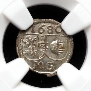 AUSTRIA, Salzburg. Silver Pfennig, 1680, NGC MS66, Gem BU