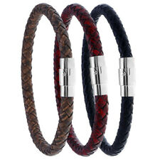 Mens Women Leather Braided Bracelet Bangle Magnetic Clasp Wristband Cuff Wrap