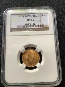 1922 B SWITZERLAND GOLD 10 FRANCS MS 65 NGC