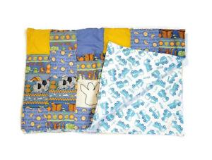 Handmade Baby Quilt Blanket Reversible Unique Colorful Noah's Ark Trucks Animals