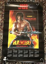 Rambo First Blood Part 2 Stallone 1985 Video Store Calendar Poster Vintage Orig