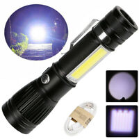 4-Mode T6 COB Flashlight Zoomable LED Torch 18650 USB Rechargeable Light Lamp