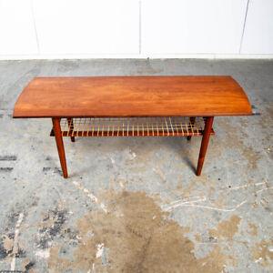 Mid Century Danish Modern Coffee Table Teak Wood Shelf Magazine Rack Shelf Cane