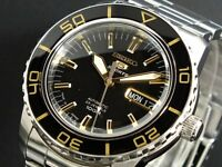 SEIKO 5 SNZH57J1 Automatic 100m Diver New in Box Made in Japan Black Gold #