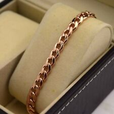 """18K Rose Gold Filled Bracelet Chain 8.5""""7mm Smooth Link GF Charm Wedding Jewelry"""